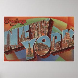New York City, New York - Large Letter Scenes Poster