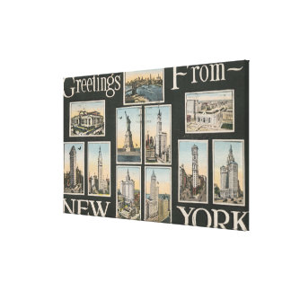 New York City New YorkGreetings Stretched Canvas Print