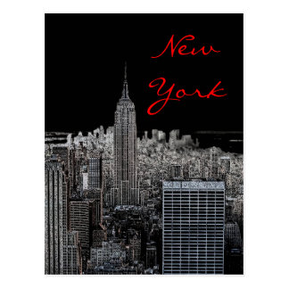 New York City Night Pop Art Script Postcard
