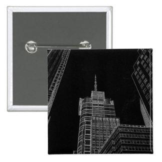 New York City Night Scenes Button Lapel Pin 2 Inch Square Button