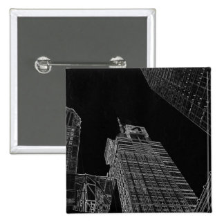 New York City Night Scenes Gifts - Button Pins 2 Inch Square Button
