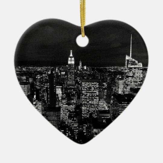 New York City Night Skyline Christmas Ornament