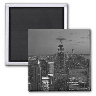 New York City night skyline Square Magnet