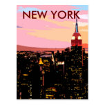 New York City Night View Paint Vintage Postcard
