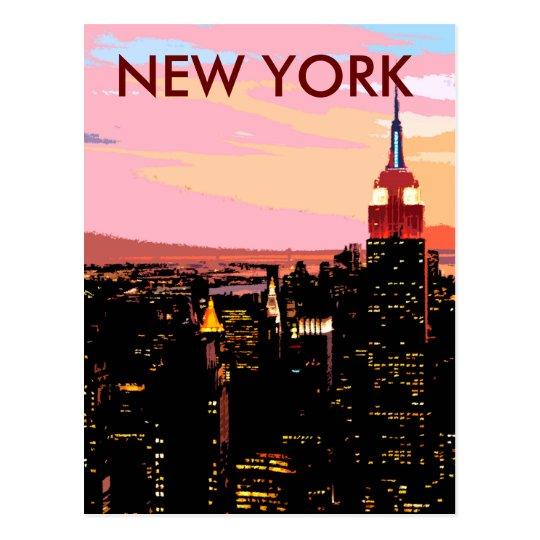 New York City Night View Paint Vintage Postcard