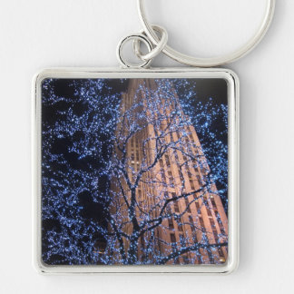 New York City Night Walk CricketDiane Silver-Colored Square Key Ring