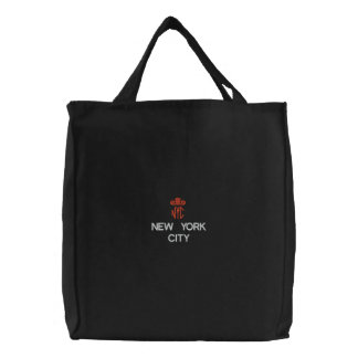 NEW YORK CITY, NYC BLACK TOTE EMBROIDERED TOTE BAGS