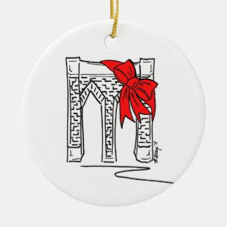 New York City NYC Brooklyn Bridge Bow Christmas Christmas Ornament