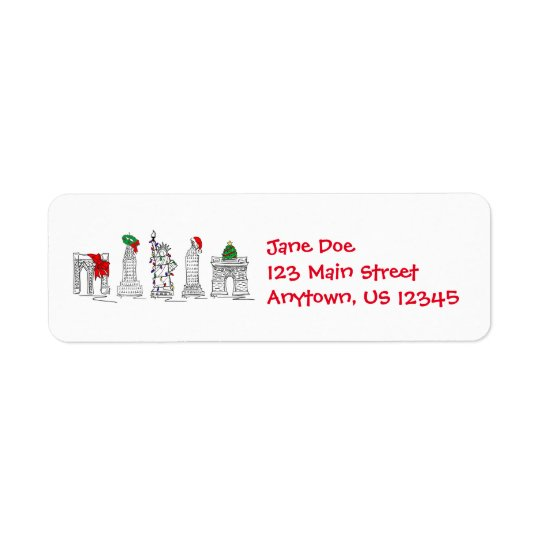 New York City NYC Christmas Xmas Landmarks Labels