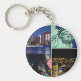 New York City NYC collage photo cityscape Basic Round Button Key Ring