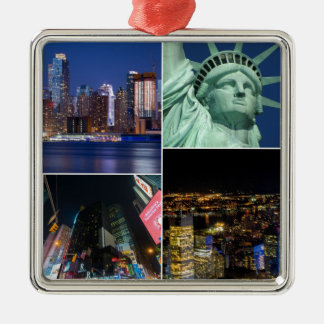 New York City NYC collage photo cityscape Christmas Ornament
