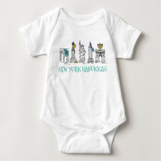 New York City NYC Hanukkah Chanukah Jewish Holiday Baby Bodysuit