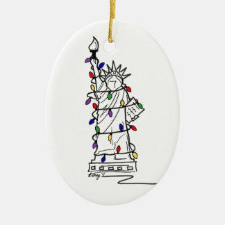 New York City NYC Statue Liberty Christmas Lights Christmas Ornament