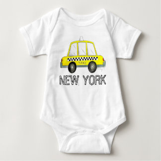 New York City NYC Yellow Taxi Checkered Cab Car Baby Bodysuit