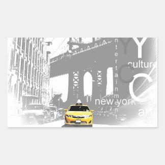 New York City Nyc Yellow Taxi Pop Art Rectangular Sticker