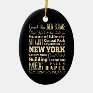 New York City of New York State Typography Art Ceramic Oval Decoration