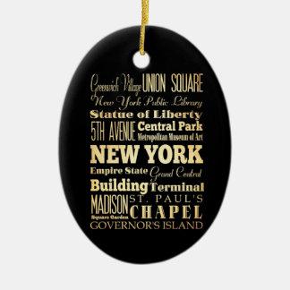 New York City of New York State Typography Art Christmas Ornament