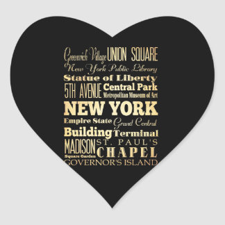 New York City of New York State Typography Art Heart Sticker