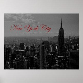 New York City Old Script Poster Print