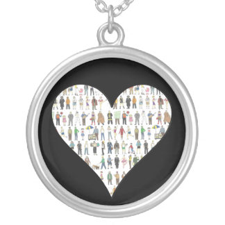 New York City People NYC Painted Heart Necklace