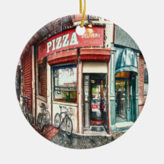 New York City Pizza Place by Shawna Mac Christmas Ornament