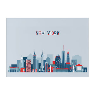 New York City | Red, White and Blue Acrylic Wall Art