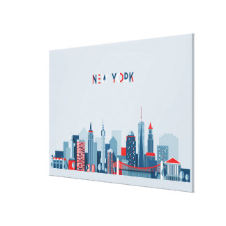 New York City | Red, White and Blue Canvas Print