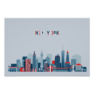 New York City | Red, White and Blue Poster