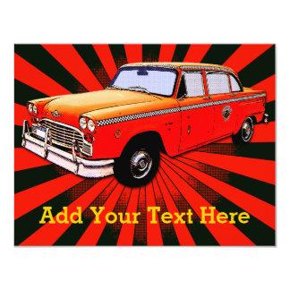 New York City Retro Taxi Cab 11 Cm X 14 Cm Invitation Card