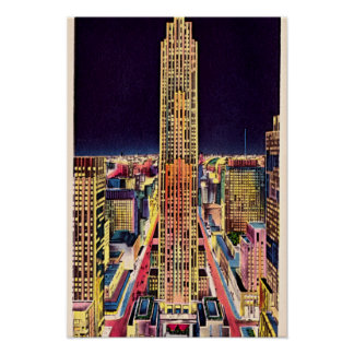 New York City Rockefeller Center at Night 1940 Poster