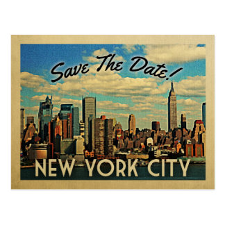 New York City Save The Date Vintage NYC Wedding Postcard