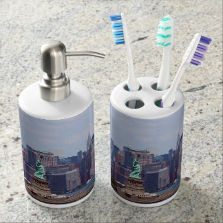 New York City Scape with Statue of Liberty Bathroom Set