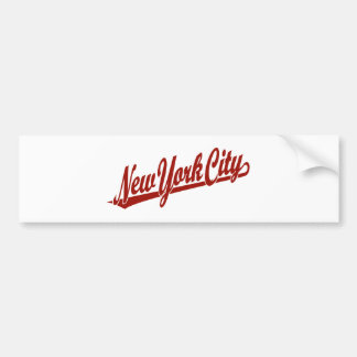 New York City script logo in red Bumper Sticker