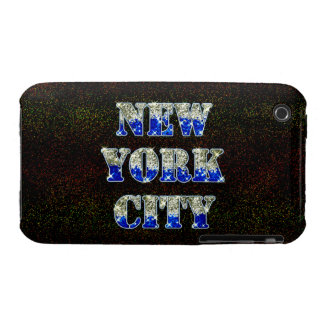 New York City Silver Blue Glitters iPhone 3 Cover