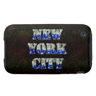 New York City Silver Blue Glitters iPhone 3 Tough Covers