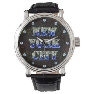 New York City Silver Blue Glitters Wrist Watch