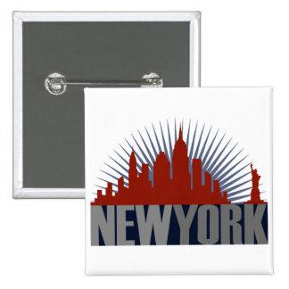 New York City Skyline 15 Cm Square Badge