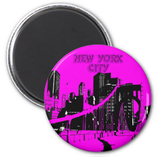 NEW YORK CITY SKYLINE 6 CM ROUND MAGNET
