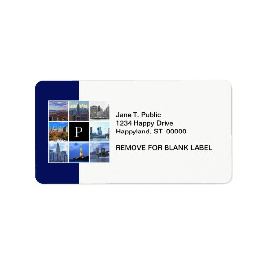 New York City Skyline 8 Image Photo Collage Address Label