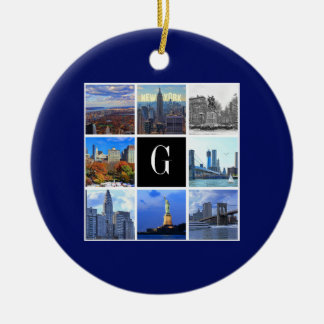 New York City Skyline 8 Image Photo Collage Christmas Ornament