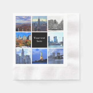 New York City Skyline 8 Image Photo Collage Paper Napkins