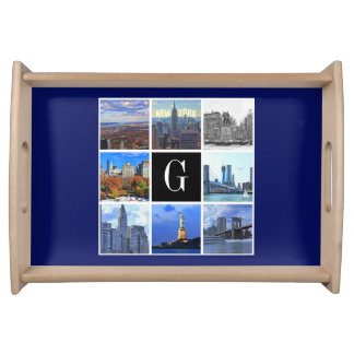 New York City Skyline 8 Image Photo Collage Serving Tray