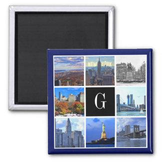 New York City Skyline 8 Image Photo Collage Square Magnet