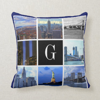 New York City Skyline 8 Image Photo Collage Throw Cushions