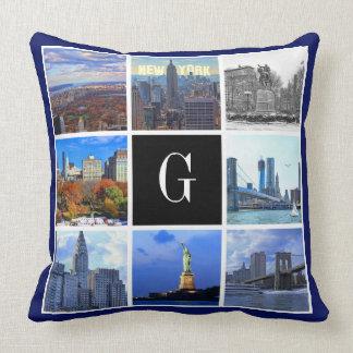 New York City Skyline 8 Image Photo Collage Throw Pillow