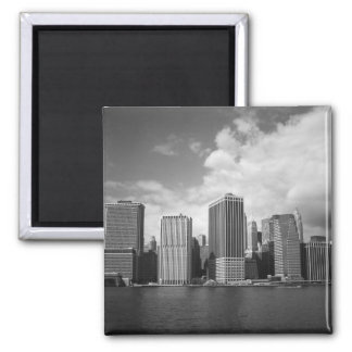 New York City Skyline Against Clouds Square Magnet