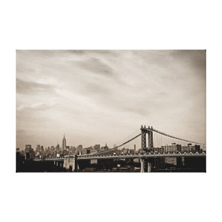 New York City Skyline and Manhattan Bridge Gallery Wrapped Canvas