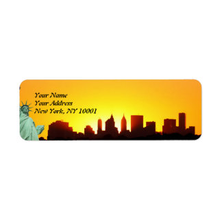 New York City Skyline and The Statue of Liberty Return Address Label