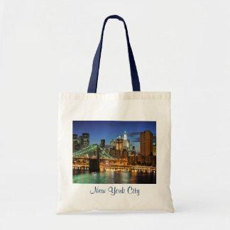 New York City Skyline at Night Budget Tote Bag