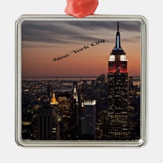 New York City Skyline at Night Christmas Ornament